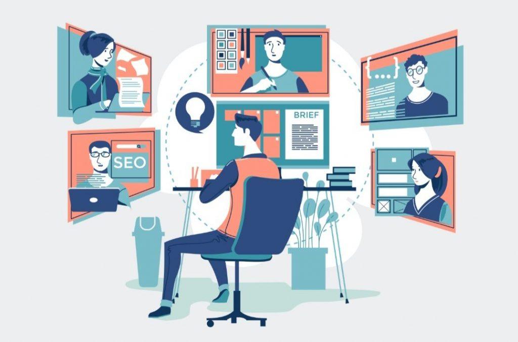 استخدم برنامج مؤتمرات الفيديو للتفاعل مع أعضاء الفريق
